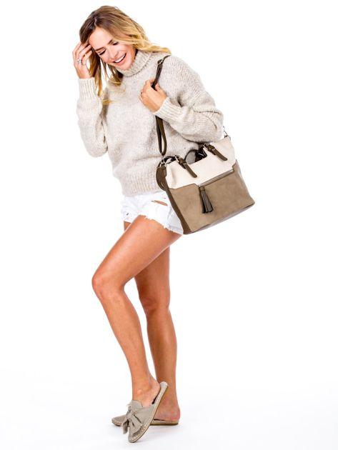 Khaki torba z chwostem i odpinanym paskiem                              zdj.                              1