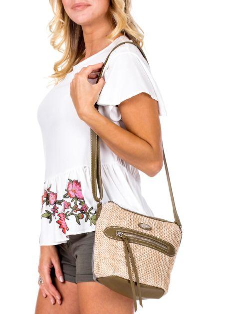 Khaki torebka damska z plecionym modułem                              zdj.                              1