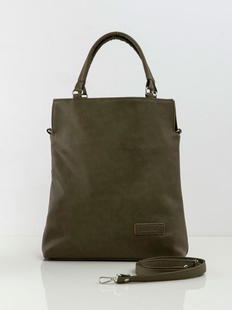 Khaki torebka damska ze skóry ekologicznej