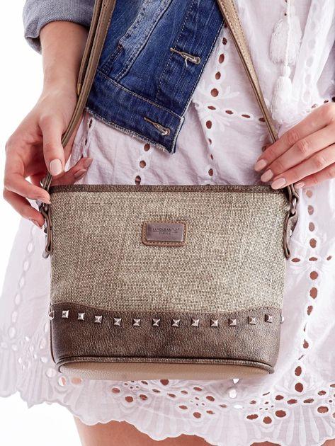 Khaki torebka listonoszka z plecioną wstawką                              zdj.                              3