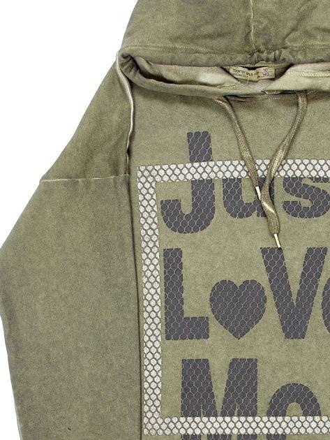 Khaki tunika dla dziewczynki z kapturem i napisem                              zdj.                              7