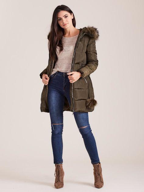 Khaki zimowa kurtka damska z futerkiem                              zdj.                              4