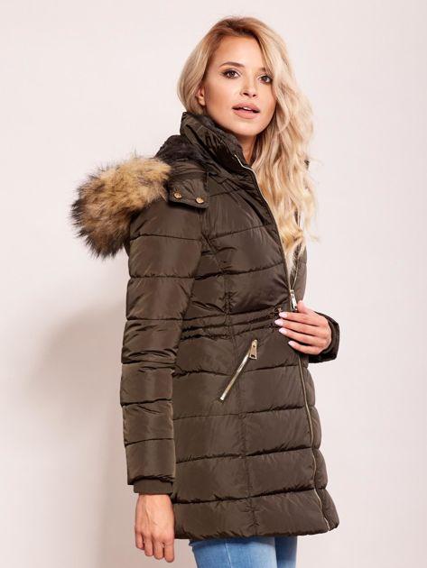 Khaki zimowa kurtka z kapturem                              zdj.                              3