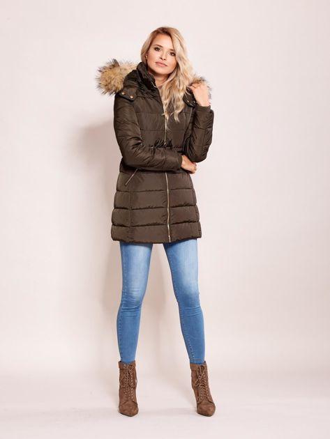 Khaki zimowa kurtka z kapturem                              zdj.                              4