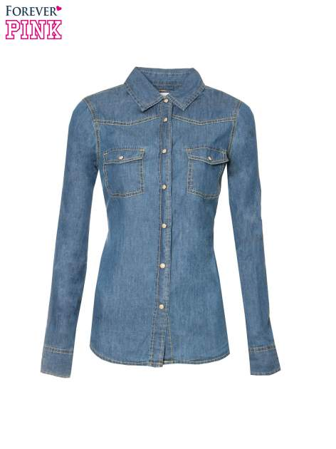 Klasyczna niebieska jeansowa koszula z kieszonkami                                  zdj.                                  5