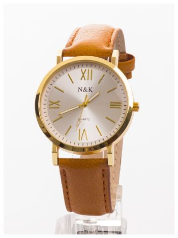 Klasyczny damski zegarek. Elegancki i czytelny cyferblat. Brązowy skórzany pasek                                  zdj.                                  1