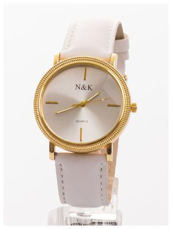 Klasyczny damski zegarek z elegancką i czytelną tarczą. Biały skórzany pasek. Ozdobna koperta                                  zdj.                                  1