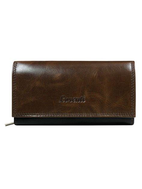 Klasyczny skórzany portfel damski brązowy