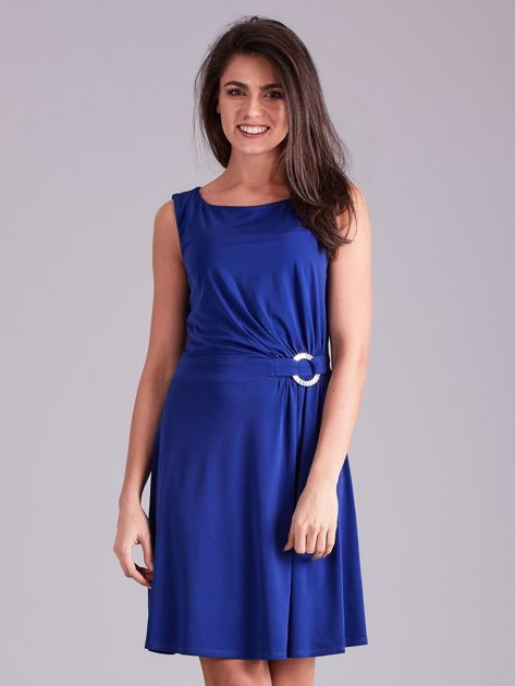 Kobaltowa drapowana elegancka sukienka                              zdj.                              1