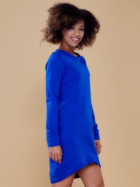 Kobaltowa dresowa tunika basic                              zdj.                              3