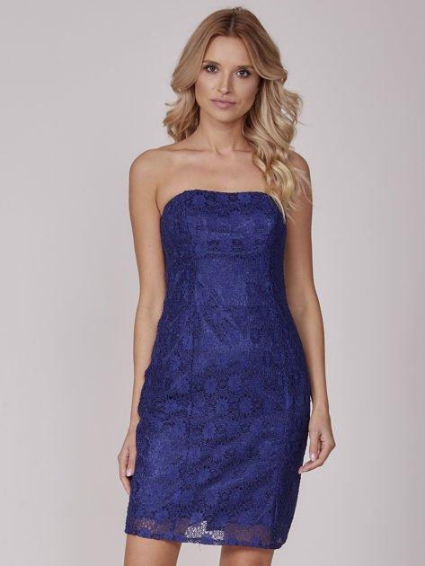 Kobaltowa koronkowa sukienka koktajlowa                              zdj.                              1