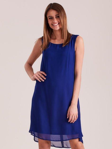 Kobaltowa sukienka z aplikacją z tyłu                              zdj.                              1
