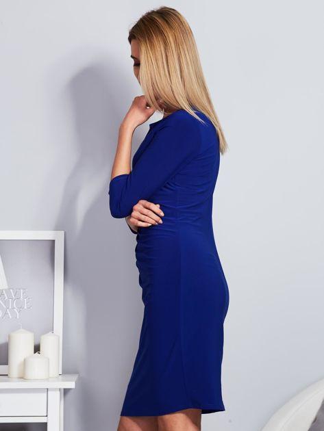 Kobaltowa sukienka z drapowaniem                                  zdj.                                  5