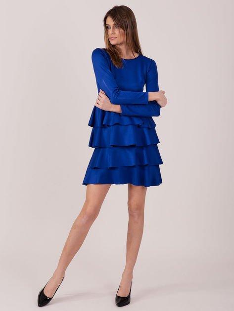 Kobaltowa sukienka z warstwowymi falbanami                              zdj.                              4
