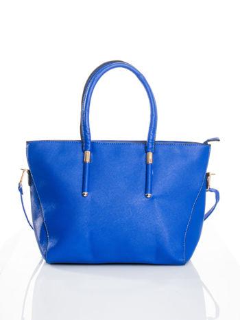 Kobaltowa torba shopper efekt saffiano                                  zdj.                                  1