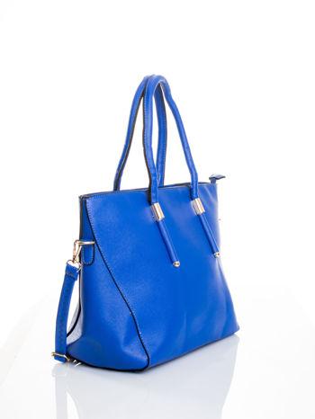 Kobaltowa torba shopper efekt saffiano                                  zdj.                                  3