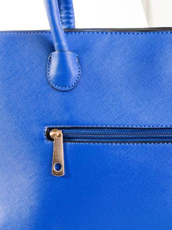 Kobaltowa torba shopper efekt saffiano                                  zdj.                                  6