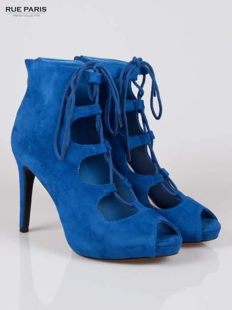 Kobaltowe sznurowane botki faux suede Kendall lace up open toe z zamkiem                                  zdj.                                  2