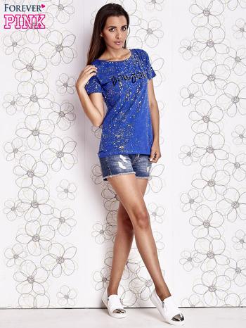 Kobaltowy t-shirt z napisem BONJOUR                                  zdj.                                  2