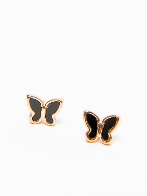 Kolczyki damskie czarne motylki pozłacane 14-karatowym złotem