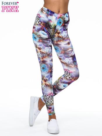 Kolorowe legginsy z kwiatowym nadrukiem