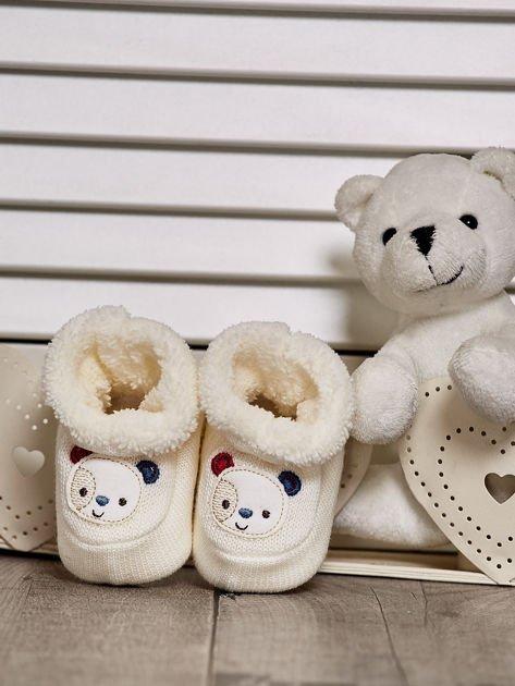 Komplet bucików dziecięcych z naszywkami ecru-jasnoniebieski                              zdj.                              2