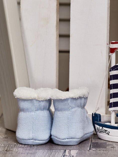 Komplet ocieplanych bucików dziecięcych ecru-jasnoniebieski                              zdj.                              10