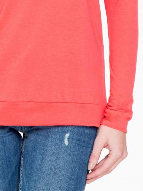 Koralowa bawełniana bluzka z rękawami typu reglan                                  zdj.                                  6
