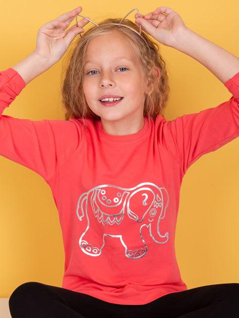 Koralowa bawełniana tunika dla dziewczynki
