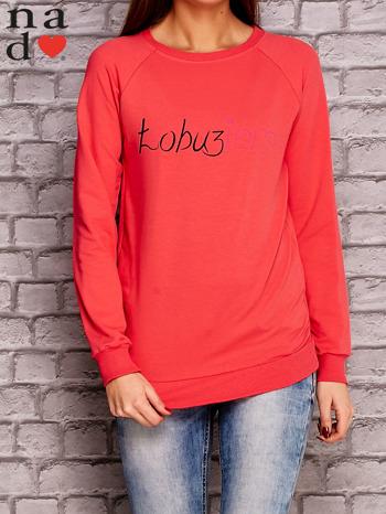 Koralowa bluza z napisem ŁOBUZIARA                                  zdj.                                  1