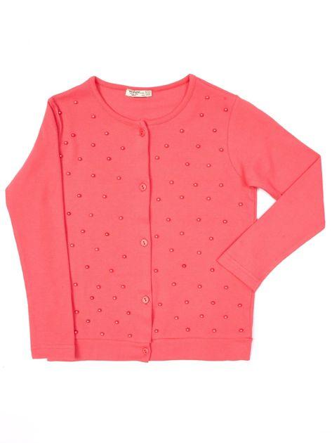 Koralowa bluzka dla dziewczynki z perełkami                              zdj.                              1