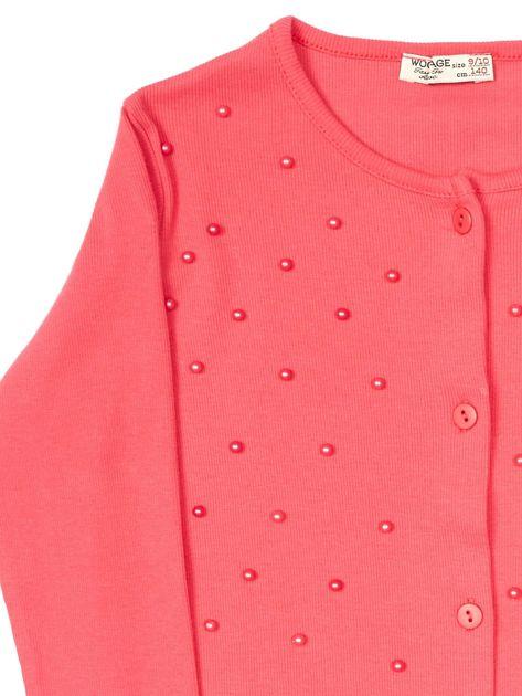 Koralowa bluzka dla dziewczynki z perełkami                              zdj.                              3
