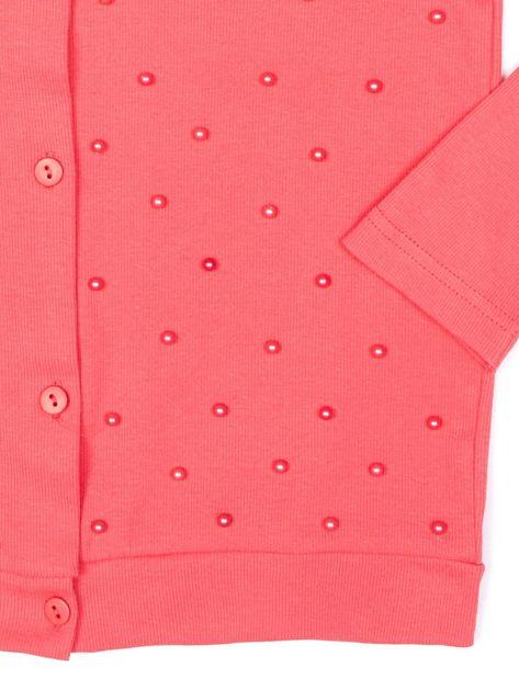 Koralowa bluzka dla dziewczynki z perełkami                              zdj.                              4