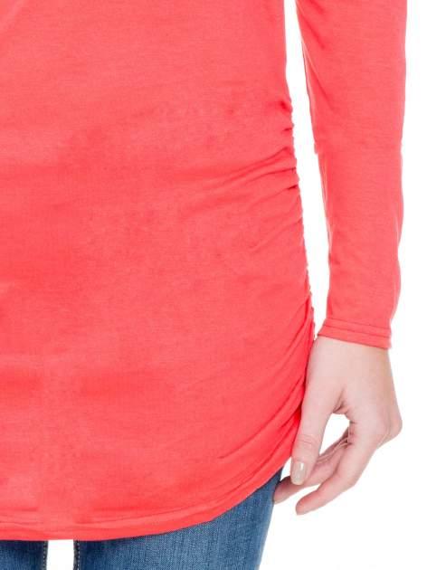 Koralowa bluzka tunika z marszczonym dołem                                  zdj.                                  6