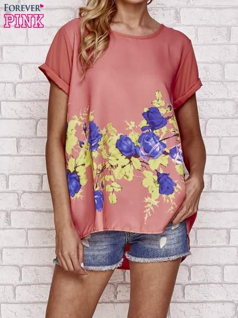 Koralowa koszula z motywem kwiatów                                  zdj.                                  1