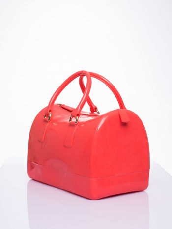 Koralowa lakierowana torba kuferek bowling                                  zdj.                                  2
