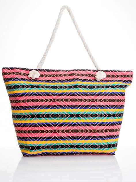 Koralowa torba plażowa w azteckie wzory                                  zdj.                                  5