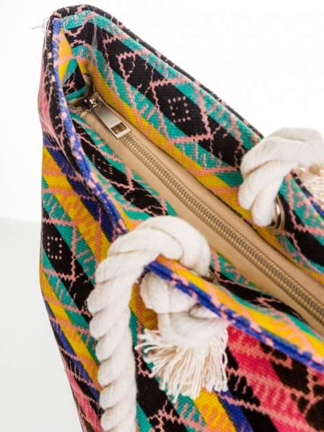 Koralowa torba plażowa w azteckie wzory                                  zdj.                                  6