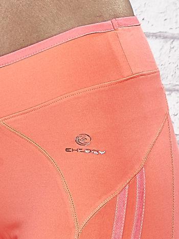 Koralowe legginsy 3/4 sportowe termalne z lampasami                                  zdj.                                  7