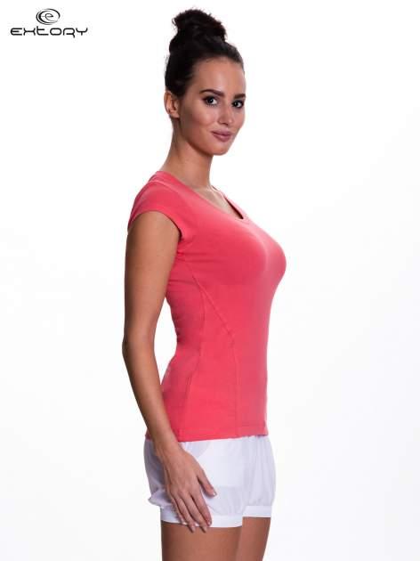 Koralowy damski t-shirt sportowy basic                                  zdj.                                  3