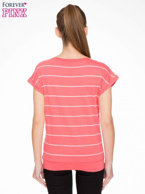 Koralowy t-shirt w paski                                   zdj.                                  3