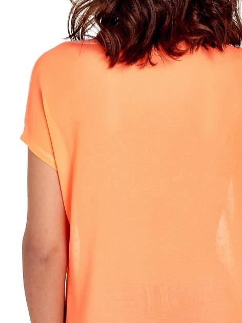 Koralowy t-shirt z kryształkami                                  zdj.                                  6