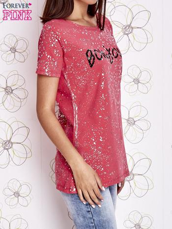 Koralowy t-shirt z napisem BONJOUR                                  zdj.                                  3