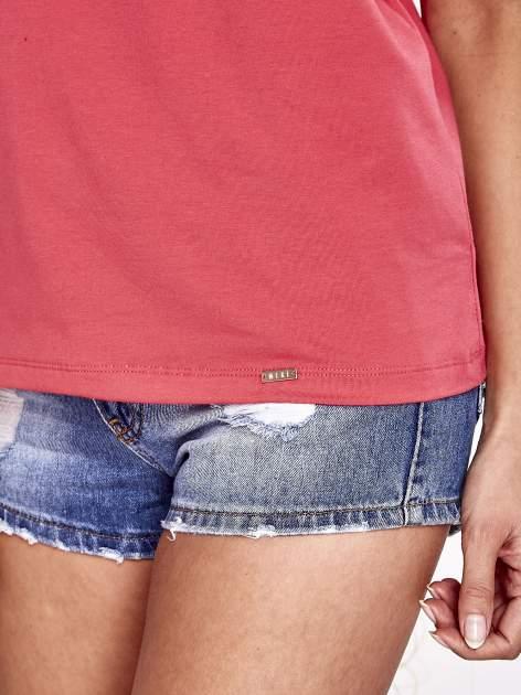 Koralowy t-shirt z napisem JE T'AIME i dekoltem na plecach                                  zdj.                                  6