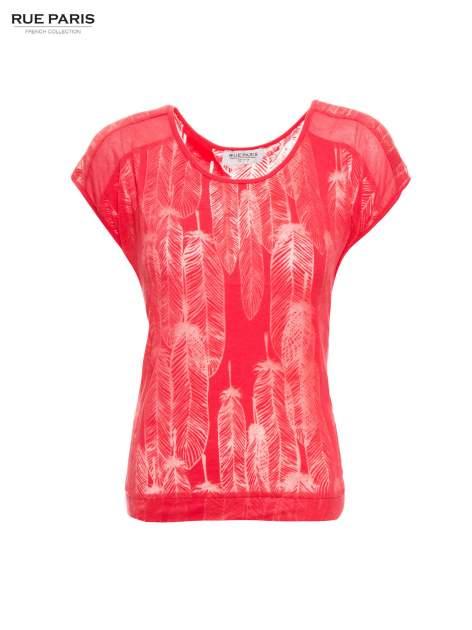 Koralowy t-shirt z transparentnym nadrukiem piór                                  zdj.                                  2