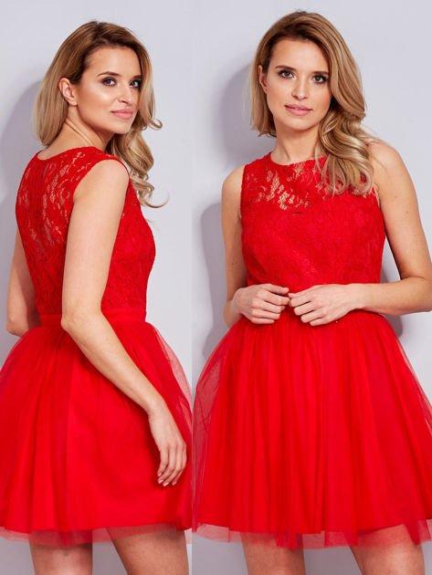Koronkowa sukienka czerwona z tiulowym dołem                                  zdj.                                  1