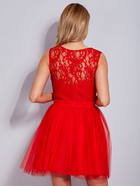 Koronkowa sukienka czerwona z tiulowym dołem                              zdj.                              2