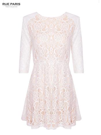 Koronkowa sukienka z rękawem 3/4 w kolorze ecru                                  zdj.                                  1