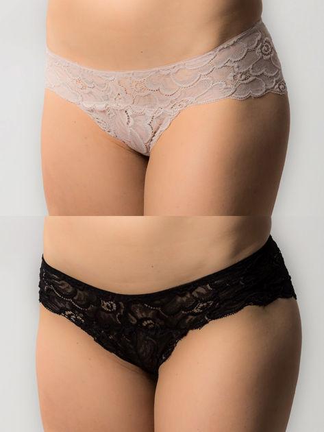 Koronkowe majtki damskie, 2 sztuki: czarny, beżowy                              zdj.                              1