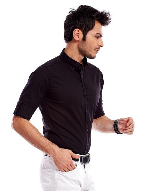 Koszula męska czarna slim fit                                  zdj.                                  3